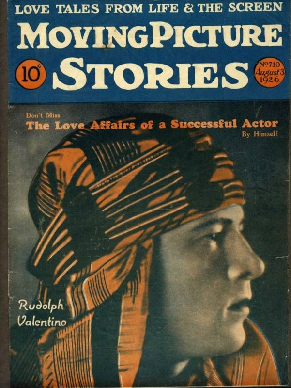 1926 Rudolph Valentino on the cover of Moving Picture Stories Magazine, a popular magazine of the day