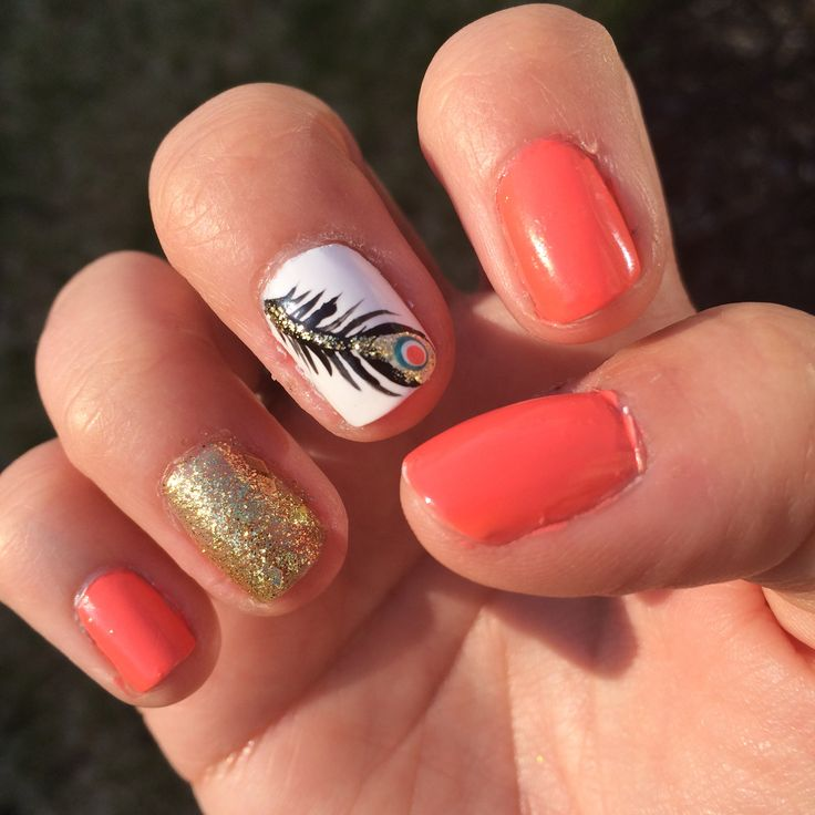 Peacock feather nail design