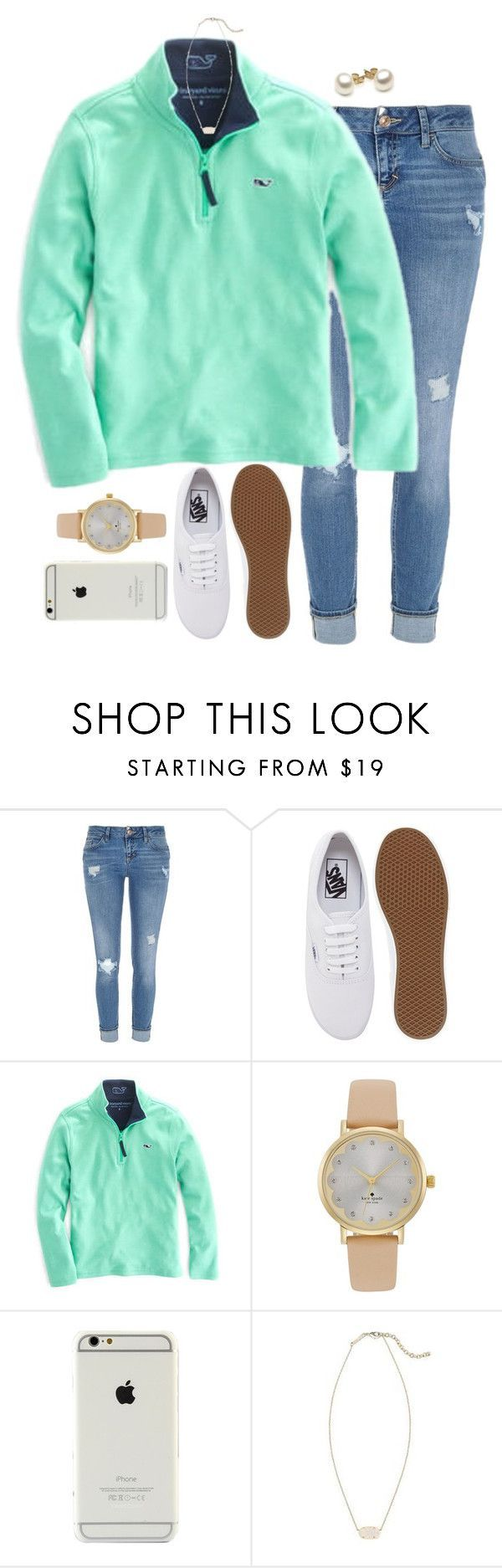 """back at it again with the white vans!!"" by evamstewart24 ❤ liked on Polyvore featuring River Island, Vans, Vineyard Vines, Kate Spade and Kendra Scott"