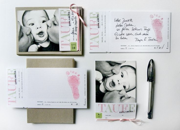 Taufkarten / Einladung Türkis Grau 15er Set