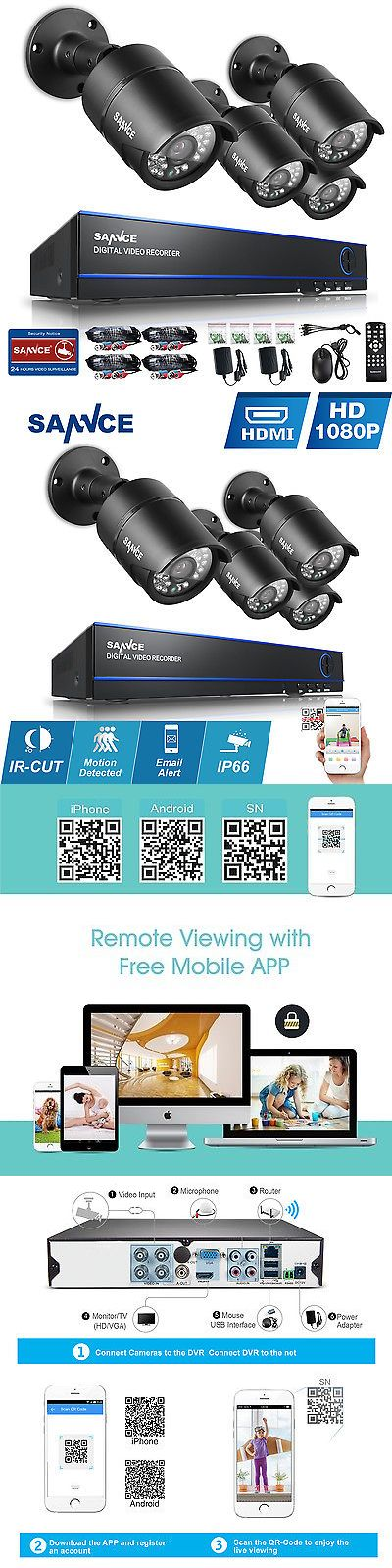 Surveillance Security Systems: Sannce 4Ch Hd 1080P Hdmi Dvr Outdoor 2Mp Ir Cctv Home Security Camera System BUY IT NOW ONLY: $139.99