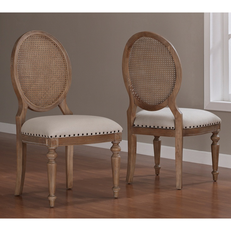 Elements Weathered Oak Cane Back Dining Chairs