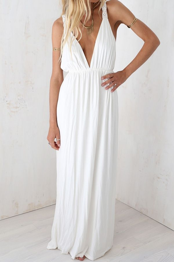 White Plunging Neck Sleeveless Maxi Dress http://www.zaful.com/white-plunging-neck-sleeveless-maxi-dress-p_51178.html?lkid=1407'