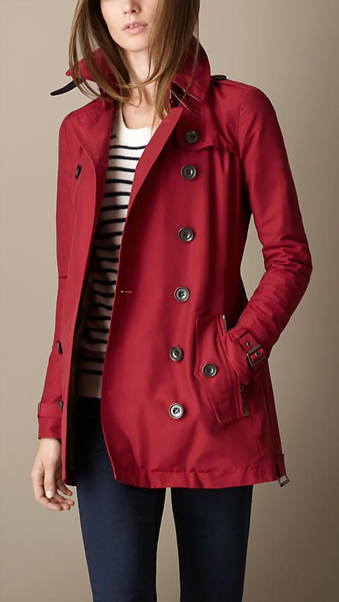 Short Leather Trim Faille Trench Coat   Burberry