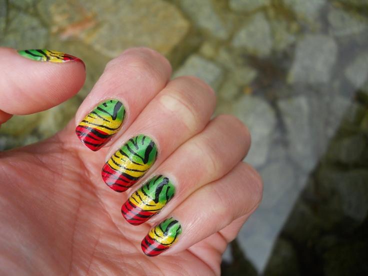 Rasta Colored Nail Art - NailArts Ideas