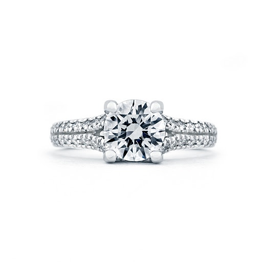 """Kindle"" diamond engagement ring with double pave diamond band, available by special order at Greenwich Jewelers"