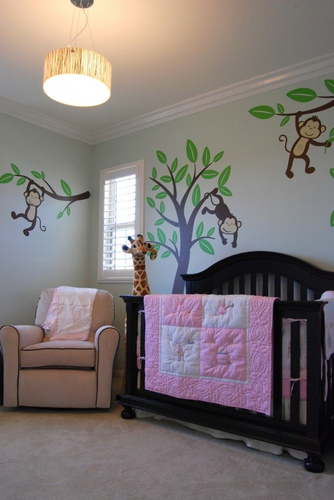 Jungle nursery really like this : replace the pink with blue or green and make it for a boy  monkeys!!