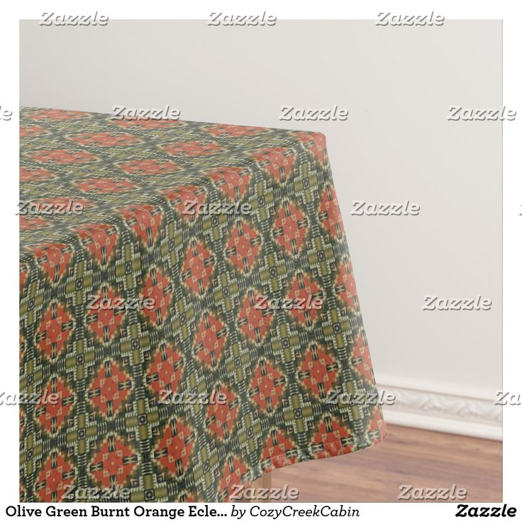 Olive Green Burnt Orange Eclectic Ethnic Look Tablecloth