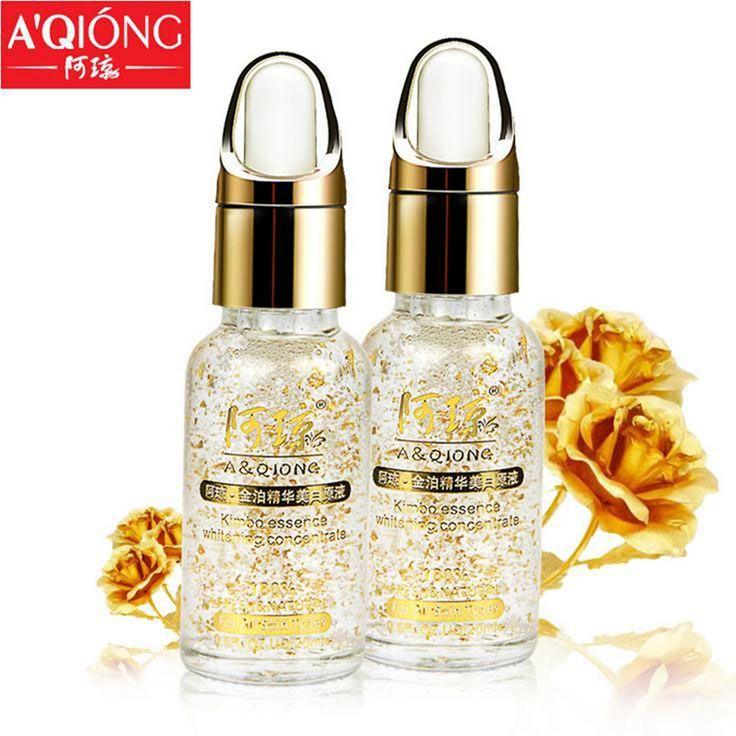 Aqiong 24 k ouro puro 20 ML de soro Face Lift essência Anti envelhecimento Anti vermelhidão clareamento hidratante de controle de óleo creme alishoppbrasil