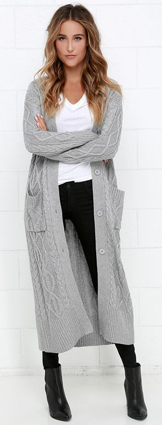 At Great Length Grey Long Cardigan Sweater