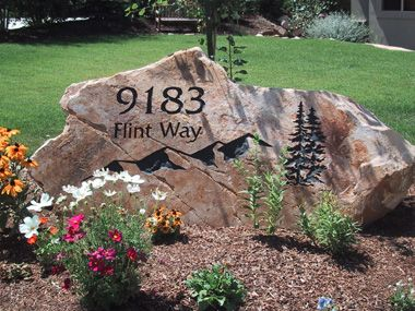 Yard Signs Made of Stone | The sign can be set in your yard as a boulder or as a slab, with ...