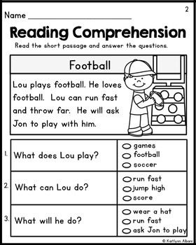 Kindergarten Reading Comprehension Passages - Set 1 FREEBIE