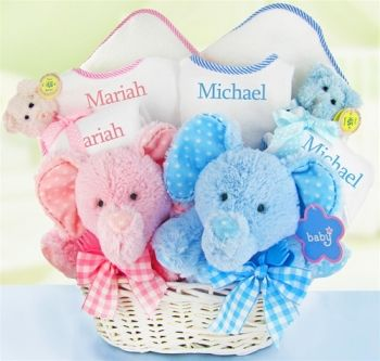 16 best personalized baby gifts images on pinterest baby gift personalized double the blessings twins baby gift basket negle Choice Image