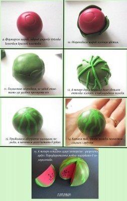 manera sencilla de hacer una sandia en miniatura que te puede servir para hacer unos pendientes o para una casita en miniatura