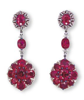 Ruby and Diamond Ear Pendants by Wallace Chan