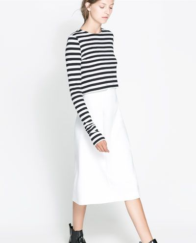 Image 2 of STRIPED CROPPED T-SHIRT from Zara