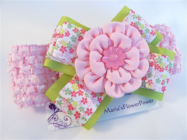 Crochet headband with Kanzashi flower bow/ elastic stretchy hair band for girls toddlers baby- buy in UK, shipping worldwide- Pink Flowers by MARIASFLOWERPOWER on Etsy