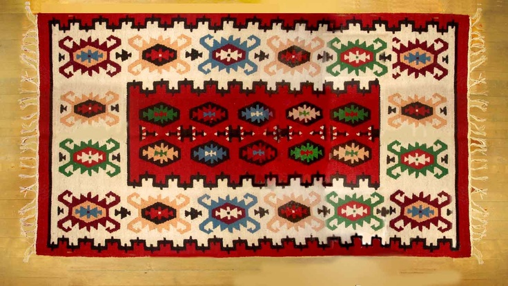 Romanian traditional motifs rug