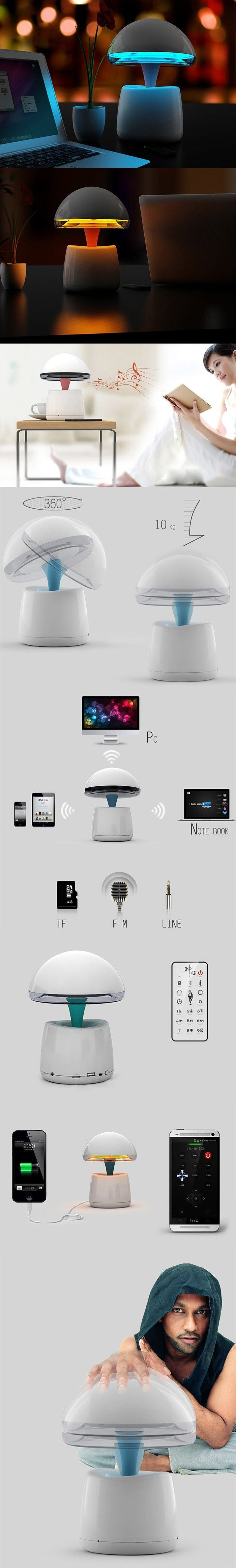 A LA Magic Lamp 3 in 1 High Performance Night Light Alarm Clock Wireless Bluetooth Speaker Built - in Lithium Battery with Remote Control for Mobile Phone Computer - BLUE