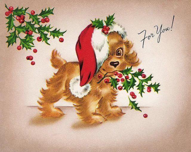 Новогодние открытки щенок