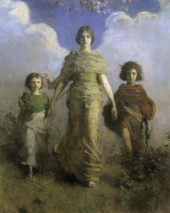 "1893: Freer purchases ""A Virgin"" by Abbott Handerson Thayer to hang in the stairwell of his home. He also lends several American paintings from his personal collection to the World's Columbian Exposition in Chicago.  A Virgin; Abbott Handerson Thayer (1849–1921); United States, 1892–1893; oil on canvas; Gift of Charles Lang Freer; F1893.11a"