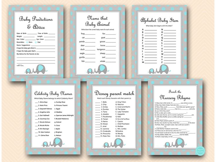 Blue Elephant Baby Shower Games Package, Baby Prediction and Advice, Celebrity Baby Names, Nursery Rhyme Game, Instant Download, Blue Elephant Themed Baby Shower