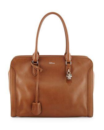 Medium Padlock Satchel Bag, Cognac by Alexander McQueen at Neiman Marcus.