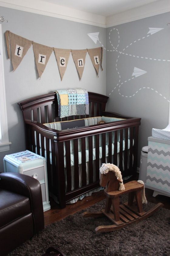 Gray, brown and blue nursery. Confirmation that expresso gray and white can work together!