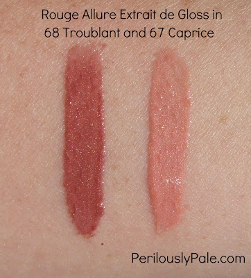Rouge Allure Extrait de Gloss in 67 Caprice and 68 Troublant from Les Essentiels de Chanel Fall 2012 Click through for review, pics, lip swatches!: Beauty Bloggers, Beauty Reviews, Blogger Pins