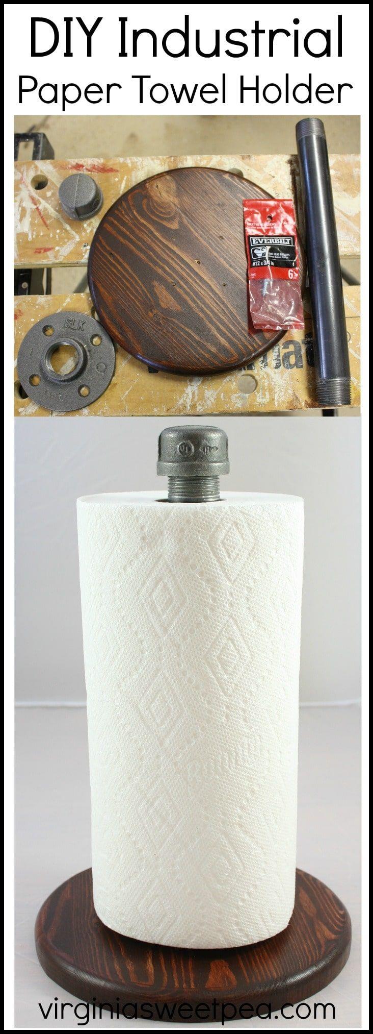 DIY Industrial Style Paper Towel Holder