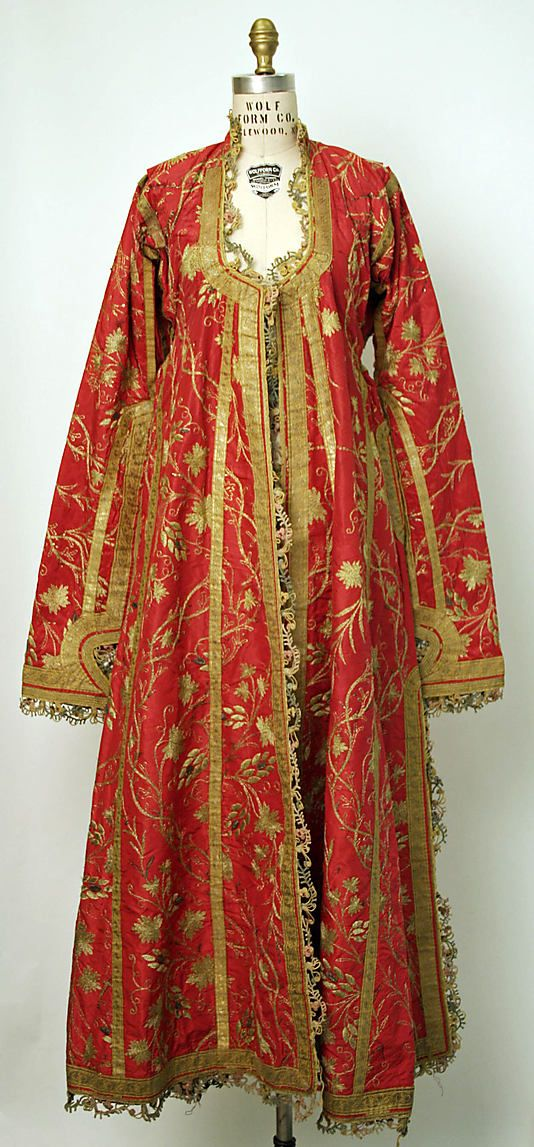 19th Century Caftan Culture: Turkish Medium: silk, cotton, metallic