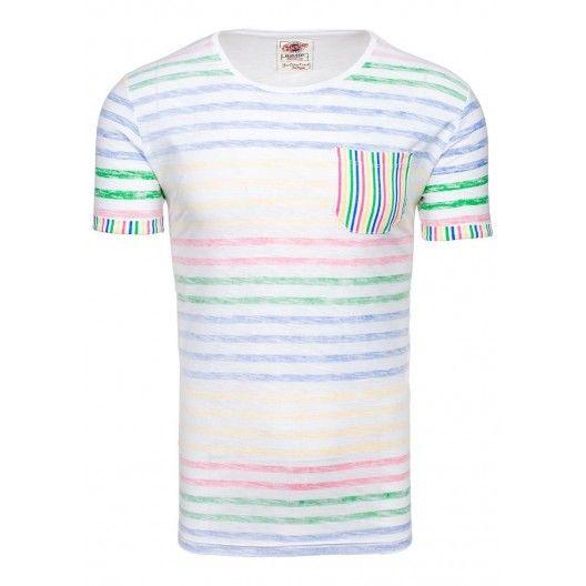 Pánske tričko s okrúhlym výstrihom v bielej farbe - fashionday.eu