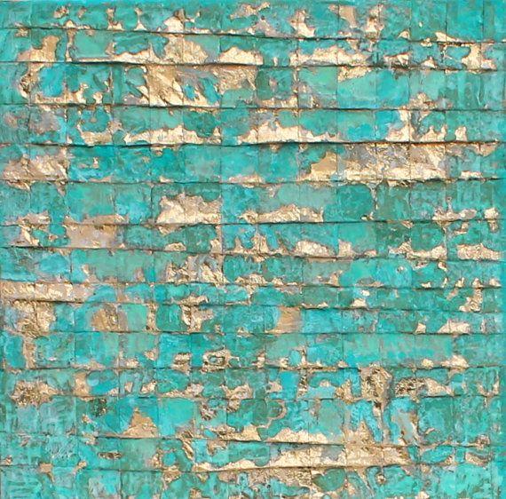 Abstrakte Malerei Blattgold 40x40x15 cm türkise von AtelierMaltopf