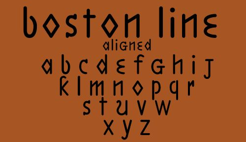 SENSES CHECKLIST / BOSTON LINE fonts were inspired by Boston Line Type, developed in the 1830s by Samuel Gridley Howe for use in raised-letter printing for the blind. The odd diamond-shaped a, d, and o and generous spacing give the inkless, embossed pages a strange beauty. Many blind people found Roman letters difficult to read and all such systems were eventually replaced by Braille.