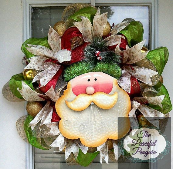 Gold, Green, and Red Santa Deco Mesh Christmas Wreath