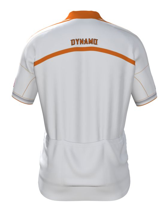 Houston Dynamo Cycling Jersey BACK  - Free Shipping !  Men's & WOMEN's - Hidden Front Zipper - Tapered collar - Triple back pocket - Over-locked QUALITY seams. See all MLS at  http://www.cyclegarb.com/mls-cycling-jerseys.html