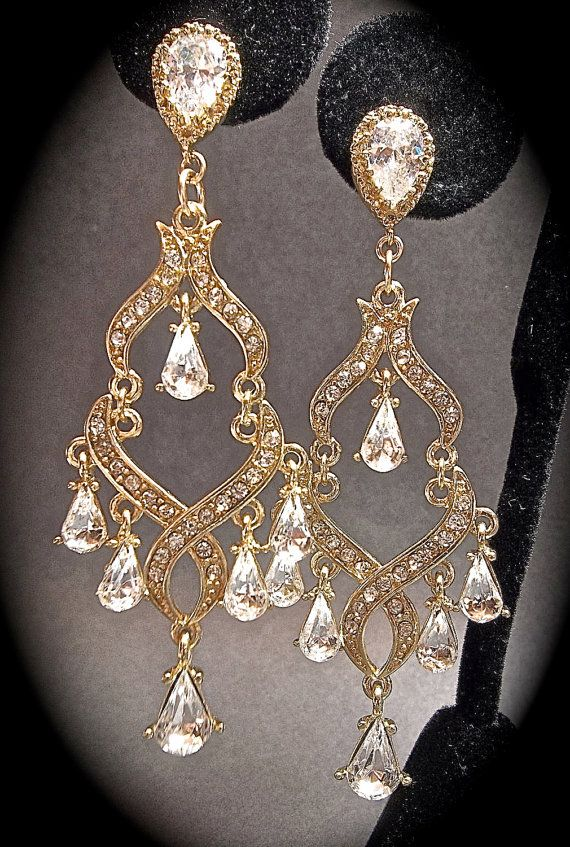 Chandelier earrings  Gold  Rhinestone by QueenMeJewelryLLC on Etsy, $39.99...they are not diamonds, but they are really pretty.