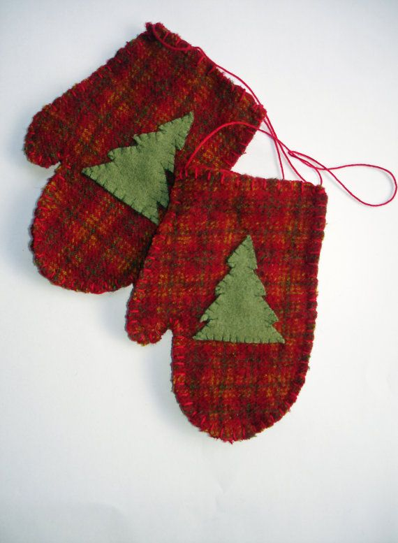 Hand-Stitched Red Mitten Christmas Ornament of upcycled plaid wool by MyDisgustedCats