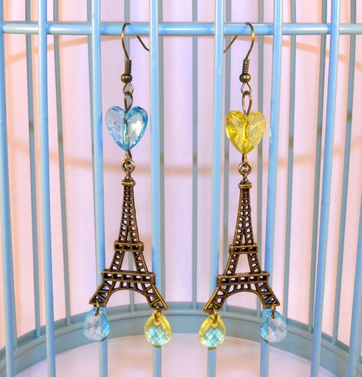 Boucles d'oreilles Paris, Tour Eiffel, Bronze, Pendantes, Perles Coeurs, Gouttes, Bleu/Jaune : Boucles d'oreille par oranjine