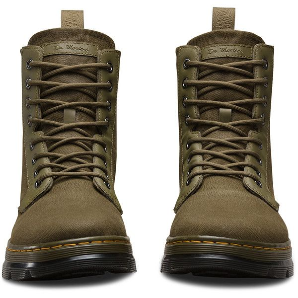 Dr. Martens Canvas Combs Hiking Boots ($90) ❤ liked on Polyvore featuring shoes, boots, green, fold-over boots, dr martens boots, slip resistant shoes, green boots and canvas boots
