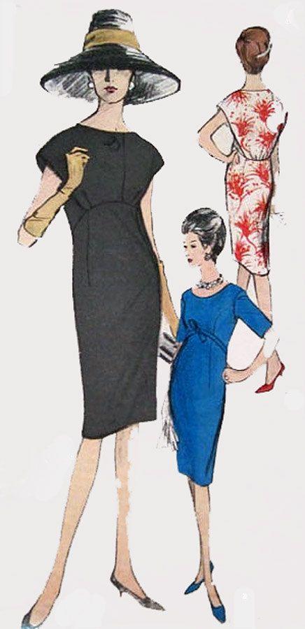1960s Vintage Sewing Pattern Vogue Special Design by sandritocat unique style shift black blue red white floral hat shoes color illustration dress cocktail dinner day