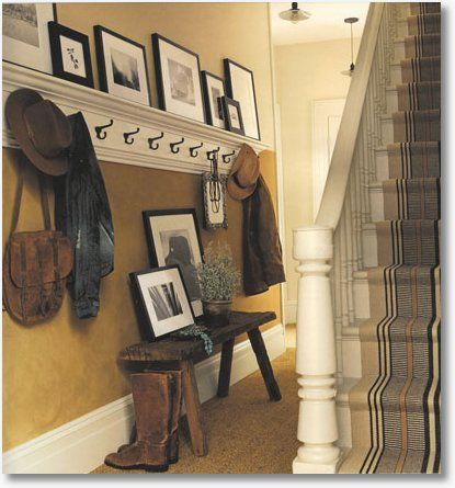 crown molding with hooks.  CUTE!: Photo Display, Idea, Entry Mudroom, Mud Room, Crown Molding, Entryway