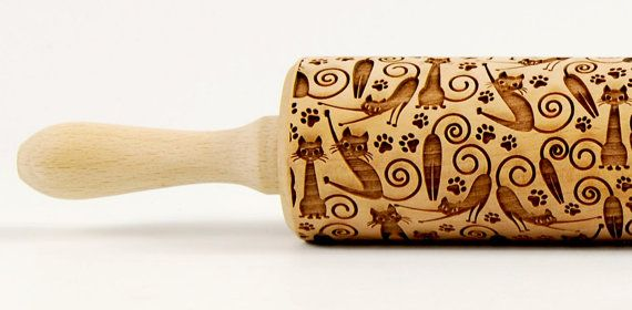 CATS ROLLING PIN No. 5 Embossing rolling pin Engraved rolling pin Funny cats