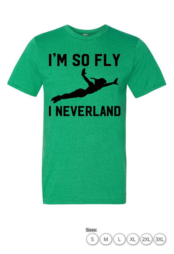 Disney Peter Pan Shirt - Im So Fly I Neverland Style: Mens Unisex Tee Colors : Heather Green , Green , Heather Grey. Sizes: Small - 3XL Made to order. Ships 2 - 3 Business days via first class mail or upgrade to priority shipping. High Quality Silk Screen printed on Anvil Brand Anvil 980 / Adult Lightweight Tee  Note : Please check sizing chart to ensure you order the correct size.   • 4.5 oz., 100% combed ring-spun cotton, pre-shrunk (unless otherwise noted) • 30/1s fabric • Tubula...