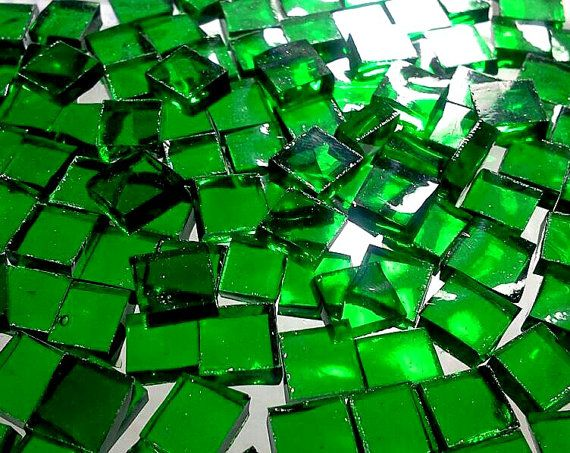 emerald green stained glass | 100 BRIGHT EMERALD GREEN 1/4 in Tiny Tiles - Stained Glass Mosaic ...