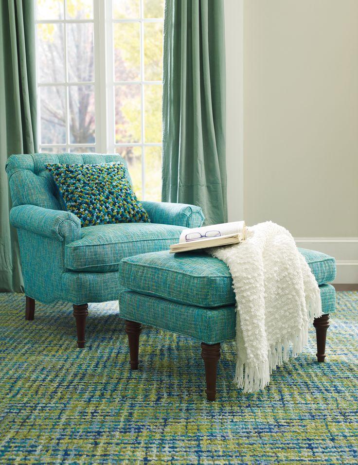 Tweedy Blue Rug Clic Club Chair Ottoman In Nori Turquoise Liliana Pillow
