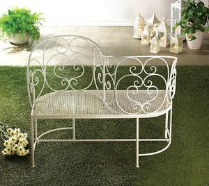 White Metal Garden Courting Settee Bench Tete A Tete S Shaped Conversation  Chair