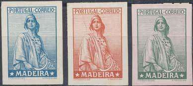 Madeira Ceres, three proofs without value tablet on ungummed chromo paper in blue, reddish and greenon rose, fine  Lot condition (*)  Dealer Christi...