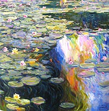 Omar Malva: Lily Pond - Sold , Original Oil on Canvas , 31.25 x 31.25