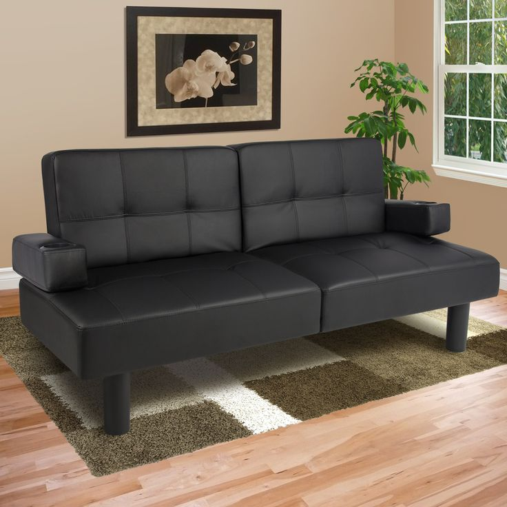 Leather Faux Fold Down Futon Sofa Bed Couch Sleeper Furniture Lounge Convertible Deal